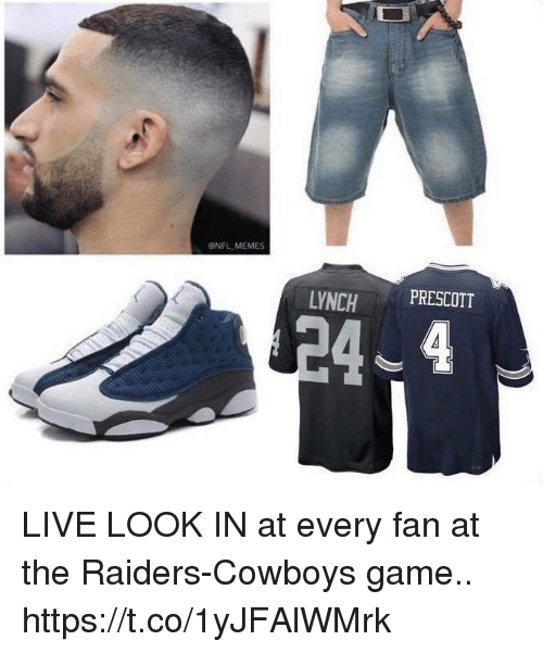 Dallas Cowboys, Football, and Memes: ONFL MEMES  LYNCHPRESCOTT LIVE LOOK IN at every fan at the Raiders-Cowboys game.. https://t.co/1yJFAlWMrk