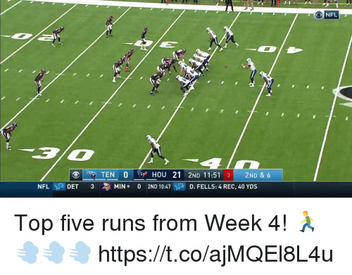 Memes, Nfl, and Top Five: ONFL  TEN O $ HOU 21 2ND 11:51 3 2ND & 6  NFL  DET  3  MIN .  0  2ND 10:47  D. FELLS: 4 REC, 40 YDS Top five runs from Week 4! 🏃💨💨💨 https://t.co/ajMQEl8L4u