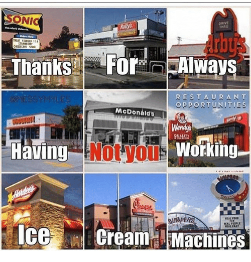 McDonalds, Wendys, and Drive: ONIC  DRIVE  THRU  RESTAURANT  OPPORTUNITIE  McDonald's  Wendys  Having  Working  IceCream Machines  EAL PEOPLE  AL FAST