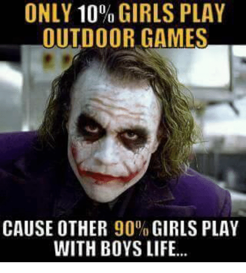 ONLY 10 GIRLS PLAY OUTDOOR GAMES CAUSE OTHER 90% GIRLS PLAY
