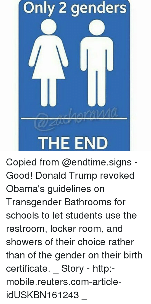 Only 2 Genders The End Copied From Good Donald Trump Revoked