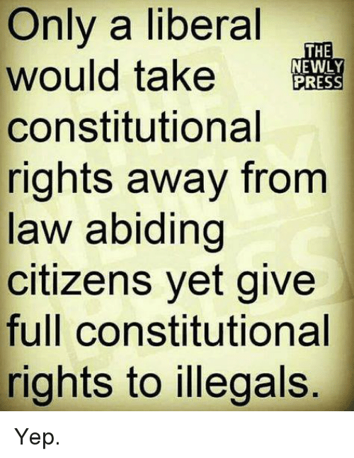 Memes, 🤖, and Liberal: Only a liberal  would take RESS  constitutional  rights away from  law abiding  citizens yet give  full constitutional  rights to illegals  THE  EWLY Yep.