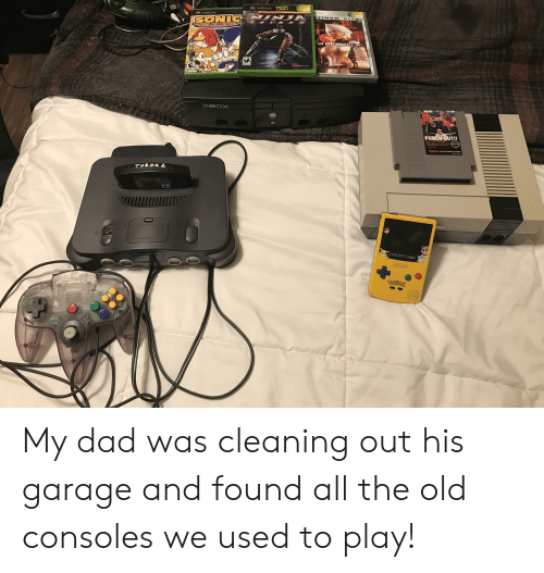 Dad, Xbox, and Game: ONLY ON  XBOX  XeaX  XOOX  SONIC  LEGA COLLECTION  TINL M  HITE  ID OR A  VI  MATURE 1  M  EVERYONE  TECMOL-  TECMO  Xeox  PUNCH-OUT!!  c  BA  ENTERTAINMENT SYSTEM  THROK 2  BESET  OFF  GAME BOY COLOR  54  Mrtoe  Pakeily  Nintondo My dad was cleaning out his garage and found all the old consoles we used to play!