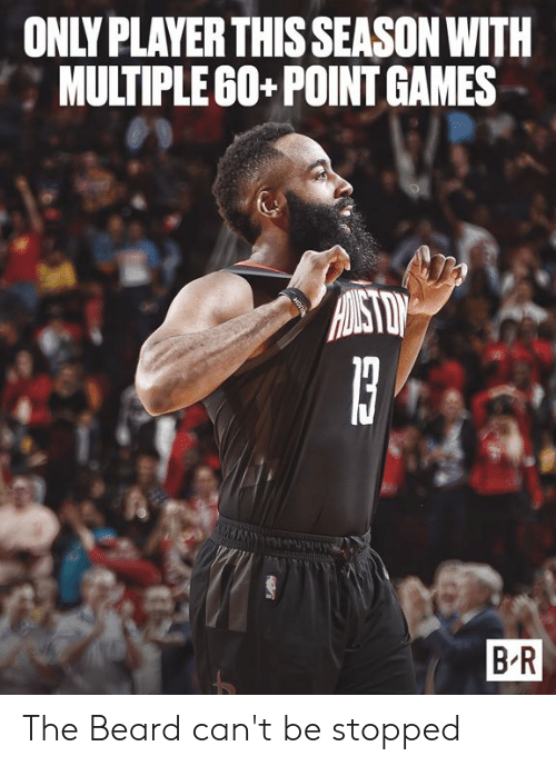 Beard, Games, and Player: ONLY PLAYER THIS SEASON WITH  MULTIPLEG0+ POINT GAMES  B R The Beard can't be stopped