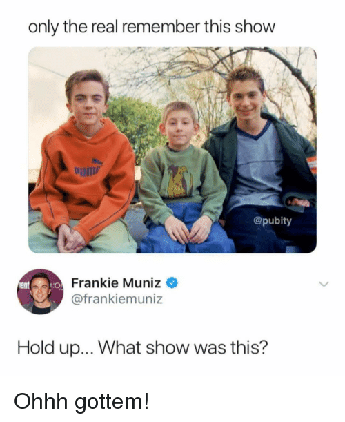 The Real, Terrible Facebook, and Frankie Muniz: only the real remember this show  @pubity  Frankie Muniz  @frankiemuniz  Hold up... What show was this?