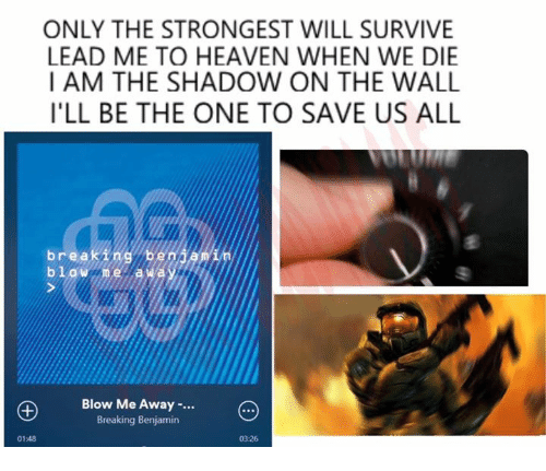 Dank, Heaven, and The Shadow: ONLY THE STRONGEST WILL SURVIVE  LEAD ME TO HEAVEN WHEN WE DIE  I AM THE SHADOW ON THE WALL  ILL BE THE ONE TO SAVE US ALL  brea  beni  bl W De la Wa  Blow Me Away  Breaking Benjamin  03:26