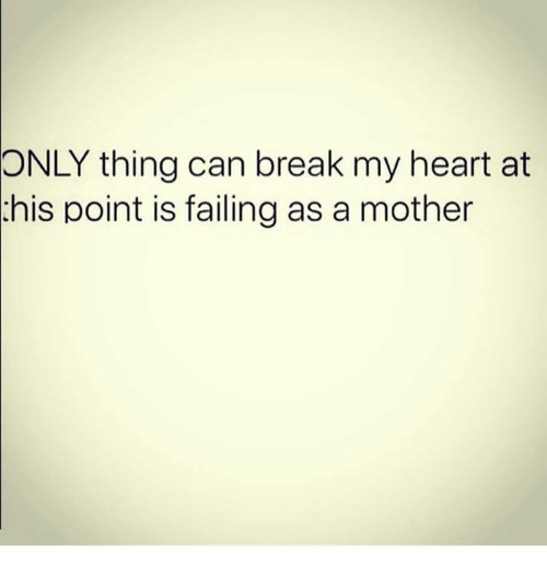 Memes, Break, and Heart: ONLY thing can break my heart at  this point is failing as a mother