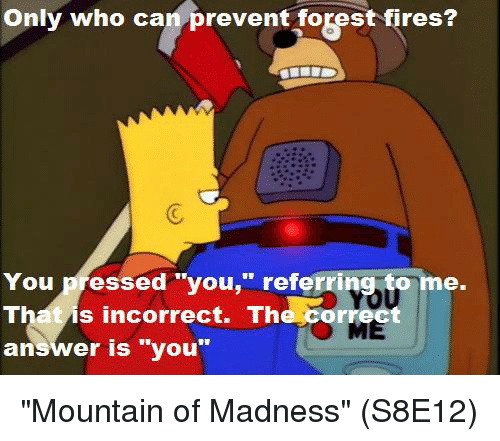 only who can prevent forest fires you pressed you referring to me