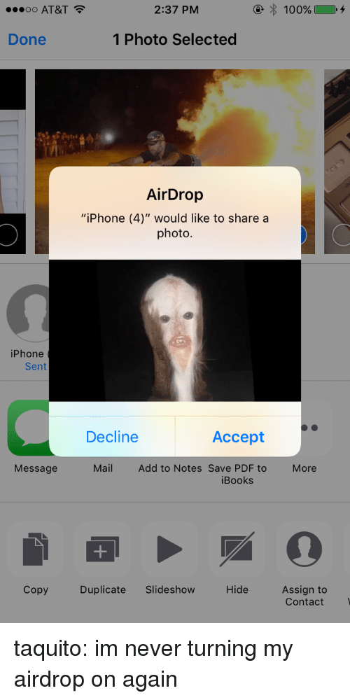 OO AT&T 237 PM Done 1 Photo Selected AirDrop iPhone 4 Would