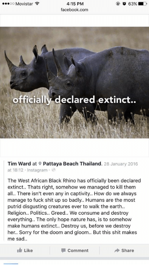 Facebook, Instagram, and Politics: oo Movistar  63%  4:15 PM  facebook.com  officially declared extinct..  Tim Ward at Pattaya Beach Thailand. 28 January 2016  at 18:12 Instagram  The West African Black Rhino has officially been declared  extinct.. Thats right, somehow we managed to kill them  all.. There isn't even any in captivity.. How do we always  manage to fuck shit up so badly.. Humans are the most  putrid disgusting creatures ever to walk the earth  Religion.. Politics.. Greed.. We consume and destroy  everything.. The only hope nature has, is to somehow  make humans extinct.. Destroy us, before we destroy  her.. Sorry for the doom and gloom.. But this shit makes  me sad.  Like  Comment  Share