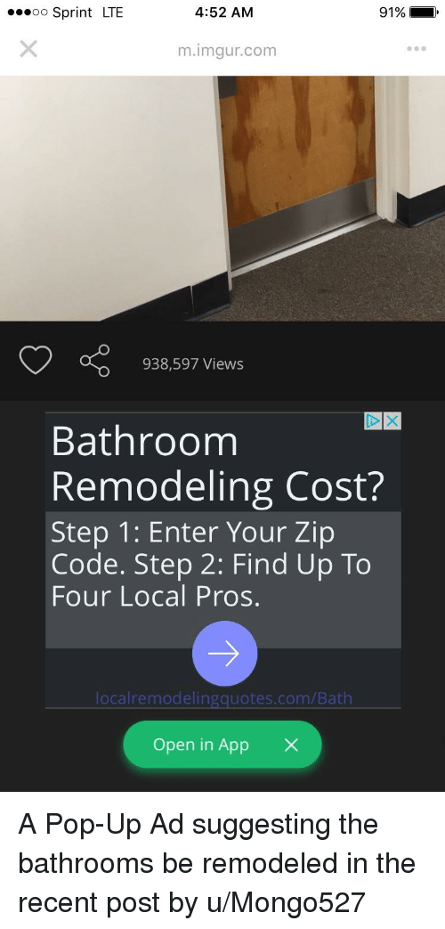 Bathroom Remodel Cost By Zip Code oo sprint lte 452 am 91% mimgurcom 938597 views bathroom