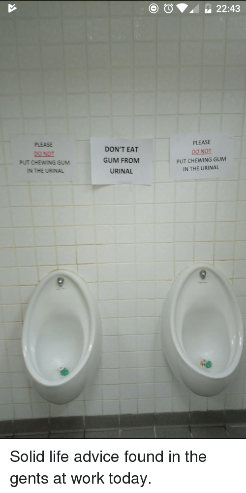 Advice, Funny, And Life: OO22:43 PLEASE DO NOT PUT CHEWING GUM IN THE URINAL  DONu0027T EAT GUM FROM URINAL PLEASE DO NOT PUT CHEWING GUM IN THE URINAL