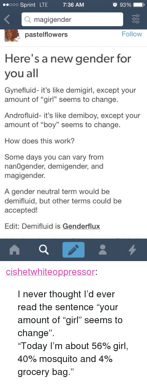 "Tumblr, Work, and Blog: ooO Sprint LTE  7:36 AM  O 93 %  .  -o  Q magigender  pastelflowers  Follow  Here's a new gender for  you all  Gynefluid- it's like demigirl, except your  amount of ""girl"" seems to change  Androfluid- it's like demiboy, except your  amount of ""boy"" seems to change  13  How does this work?  Some days you can vary from  nanOgender, demigender, and  magigender.  A gender neutral term would be  demifluid, but other terms could be  acceptec!  Edit: Demifluid is Genderflux <p><a class=""tumblr_blog"" href=""http://cishetwhiteoppressor.tumblr.com/post/119385765896"">cishetwhiteoppressor</a>:</p> <blockquote> <p>I never thought I'd ever read the sentence ""your amount of ""girl"" seems to change"".</p> <p>""Today I'm about 56% girl, 40% mosquito and 4% grocery bag.""</p> </blockquote>"