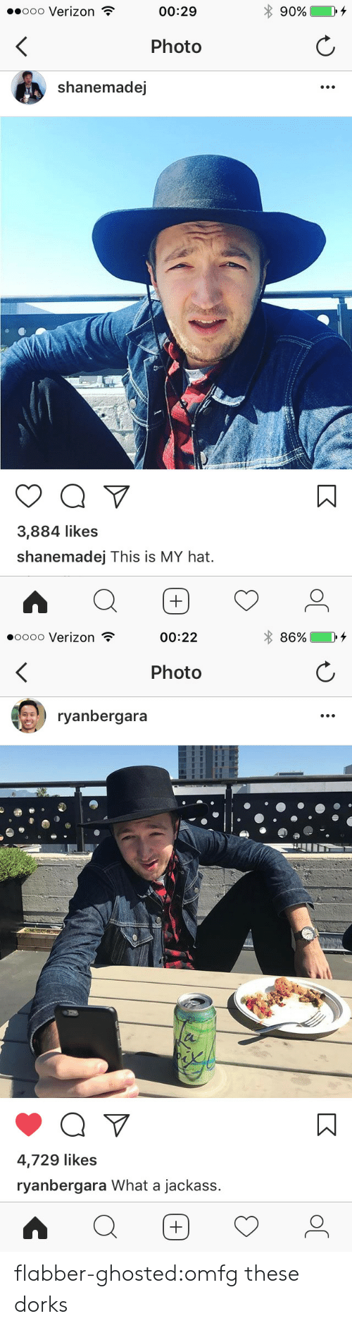 Target, Tumblr, and Verizon: ..ooo Verizon  00:29  * 90%  Photo  shanemadej  3,884 likes  shanemadej This is MY hat.   0000 Verizon  00:22  86%  Photo  ryanbergara  4,729 likes  ryanbergara What a jackass. flabber-ghosted:omfg these dorks