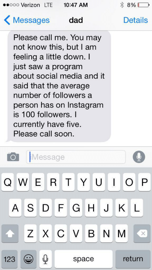 Dad, Instagram, and Saw: ooo Verizon LTE 10:47 AM  KMessages dad  Details  Please call me. You may  not know this, but I am  feeling a little down. I  just saw a program  about social media and it  said that the average  number of followers a  person has on Instagram  is 100 followers. I  currently have five  Please call soon.  Message  A S D F G H JK L  Z X C V B N M  space  123  return