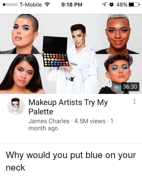 Makeup, T-Mobile, and Blue: oooo T-Mobile  9:18 PM  36:30  Makeup Artists Try My  Palette  James Charles 4.5M views 1  month ago