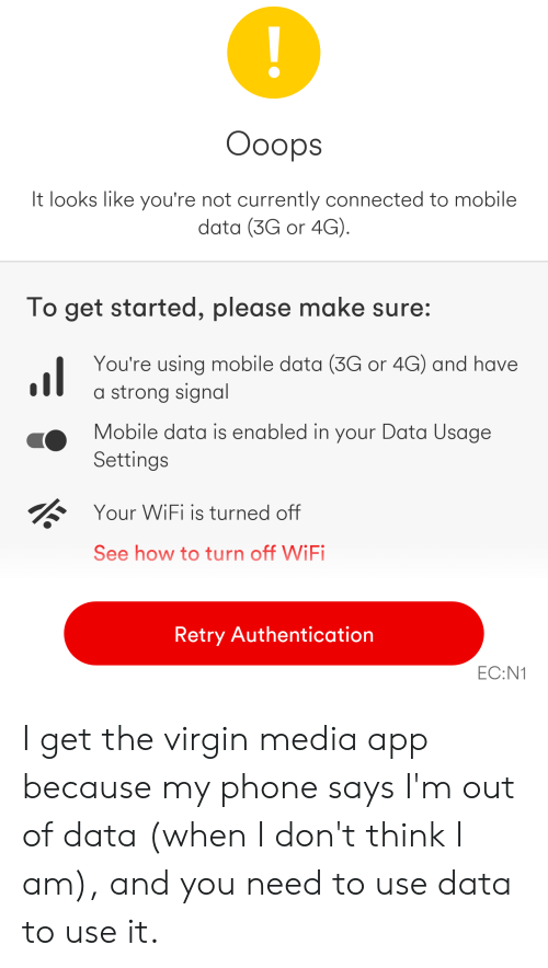 Ooops It Looks Like You're Not Currently Connected to Mobile