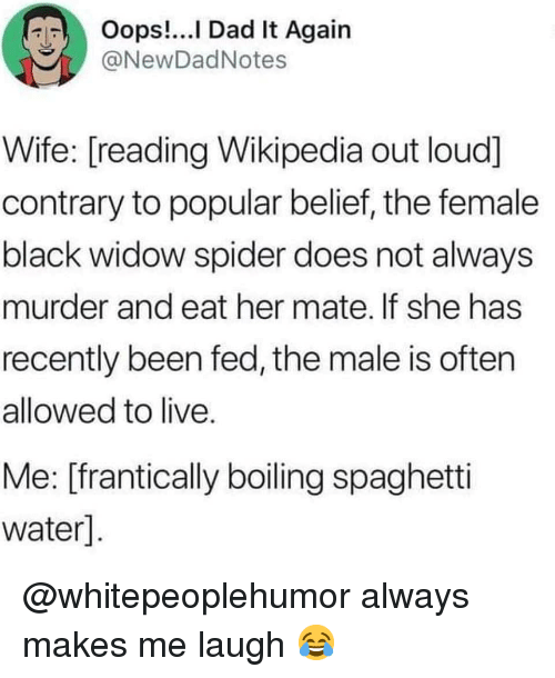 Dad, Memes, and Spider: Oops!...l Dad It Again  @NewDadNotes  Wife: [reading Wikipedia out loud]  contrary to popular belief, the female  black widow spider does not always  murder and eat her mate. If she has  recently been fed, the male is often  allowed to live  Me: [frantically boiling spaghetti  water] @whitepeoplehumor always makes me laugh 😂