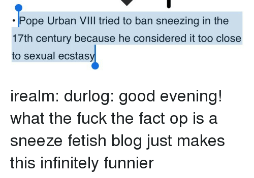 Target, Tumblr, and Blog: ope Urban VIll tried to ban sneezing in the  17th century because he considered it too close  to sexual ecstas irealm: durlog: good evening! what the fuck  the fact op is a sneeze fetish blog just makes this infinitely funnier