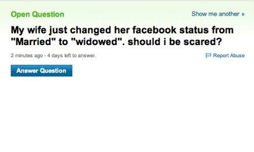 Open Question My Wife Just Changed Her Facebook Status From