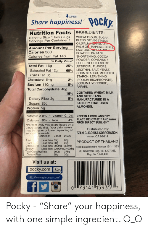 OPEN Share Happiness! Nutrition Facts INGREDIENTS Serving Size 1 Box