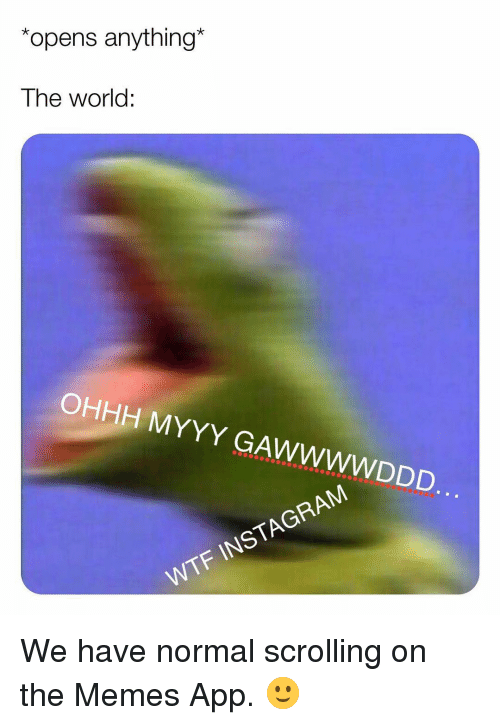 Instagram, Memes, and Wtf: opens anything*  The world:  OHHH MYYY GAWWWWDDD.  WTF INSTAGRAM We have normal scrolling on the Memes App. 🙂