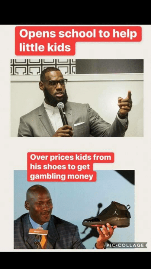 Money, School, and Shoes: Opens school to help  little kids  Over prices kids from  his shoes to get  gambling money  PIC COLLAGE