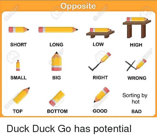 Bad, Duck, and Good: Opposite  UT  SHORT  LONG  LOW  HIGH  SMALL  BIG  RIGHT  WRONG  Sorting by  hot  TOP  BOTTOM  GOOD  BAD
