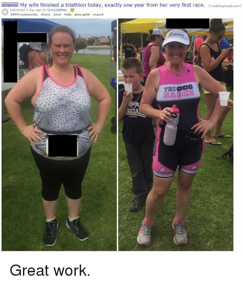 Oprogress My Wife Finished a Triathlon Today Exactly One