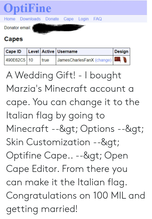 OptiFine Home Downloads Donate Cape Login FAQ Donator Email
