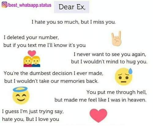 Orbest Whatsapp Status Dear Ex I Hate You So Much But I Miss You I