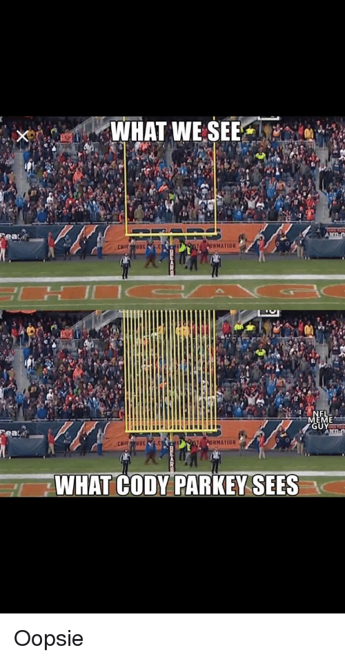 Meme, Nfl, and What: ORMATION  MEME  ORMATION  WHAT CODY PARKEY SEES