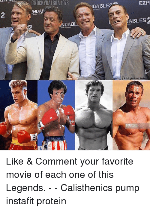 Memes, Protein, and Movie: OROCKYBALBOA.1976  DABLES  EXP  NDA  2  NDABL  ABLES  CIALE  @RockyBalboa.1976  gettyimages Like & Comment your favorite movie of each one of this Legends. - - Calisthenics pump instafit protein