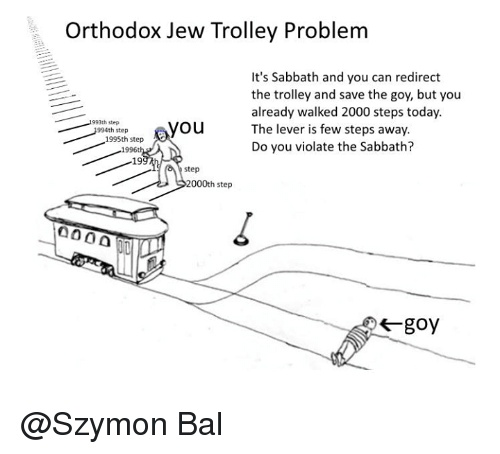 Orthodox Jew Trolley Problem It S Sabbath And You Can Redirect The