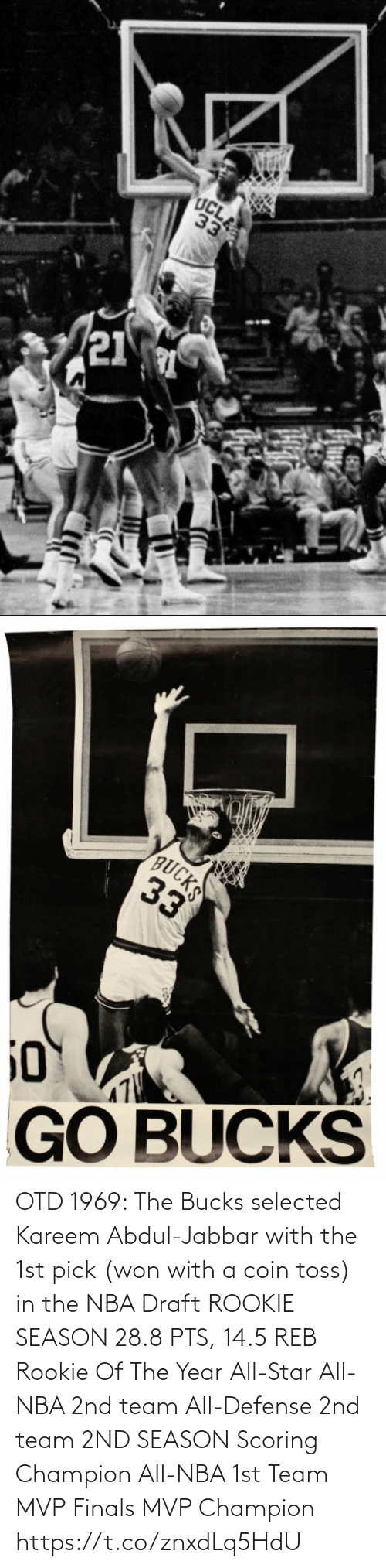 All Star, Finals, and Memes: OTD 1969: The Bucks selected Kareem Abdul-Jabbar with the 1st pick (won with a coin toss) in the NBA Draft   ROOKIE SEASON 28.8 PTS, 14.5 REB Rookie Of The Year All-Star All-NBA 2nd team All-Defense 2nd team  2ND SEASON Scoring Champion All-NBA 1st Team MVP Finals MVP Champion https://t.co/znxdLq5HdU
