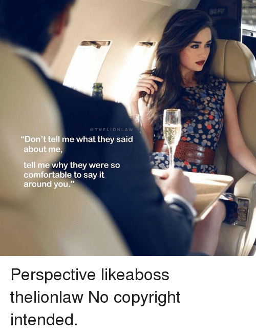 """Comfortable, Memes, and Say It: OTHELIONLAW  """"Don't tell me what they said  about me  tell me why they were so  comfortable to say it  around you."""" Perspective likeaboss thelionlaw No copyright intended."""