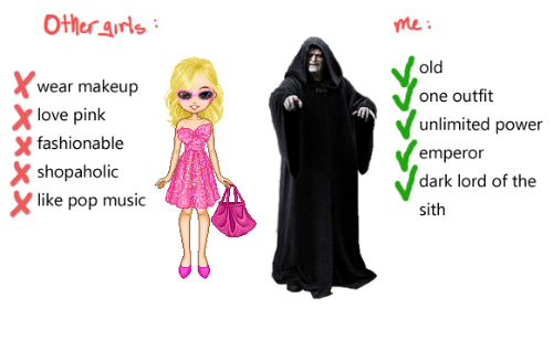 Love, Makeup, and Music: Other arls  me:  old  wear makeup  love pink  shopaholic  one outfit  unlimited power  emperor  dark lord of the  sith  X fashionable  like pop music