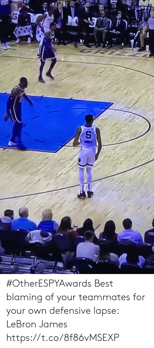 LeBron James, Sports, and Best: #OtherESPYAwards  Best blaming of your teammates for your own defensive lapse: LeBron James https://t.co/8f86vMSEXP