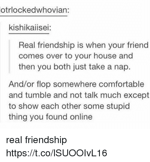 Comfortable, Friends, and Memes: otrlockedwhovian:  kishikaiisei:  Real friendship is when your friend  comes over to your house and  then you both just take a nap.  And/or flop somewhere comfortable  and tumble and not talk much except  to show each other some stupid  thing you found online real friendship https://t.co/lSUOOIvL16