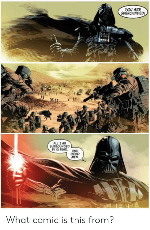 Comic, All, and What: OU ARE  SURROUNDED!  ALL I AM  SURROUNDED  BY IS FEARAND  DEAD  MEN What comic is this from?