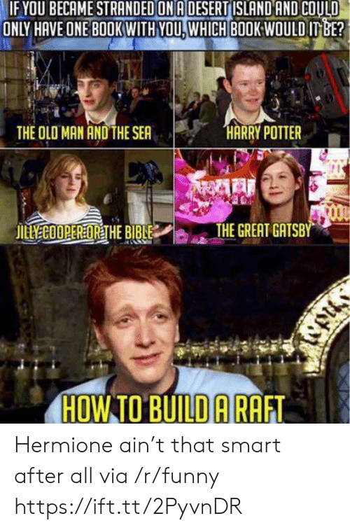 Funny, Hermione, and The Great Gatsby: OU BECAME STRANDED ON A DESERT ISLAND AND COULD  ONLY HAVE ONE BOOKWITH YOU. WHICH BOOK:WOULD ITBE?  THE OLO MAN AND THE SEA  THE GREAT GATSBY  HOW TO BUILD ARAFT Hermione ain't that smart after all via /r/funny https://ift.tt/2PyvnDR