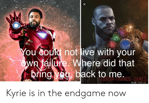 Reddit, Back, and James: ou could not ive with your  here did that  bringy back to me  1n9yeLEARUIN-THANDS-JAMES  05-08 PANIC-LAU Kyrie is in the endgame now