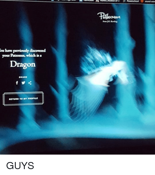 Ou Have Previously Discovered Your Patronus Which Is a Dragon SHARE