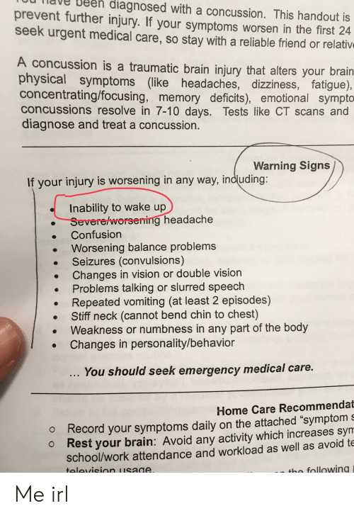 Ou Tiave Deeh Diagnosed With a Concussion This Handout Is