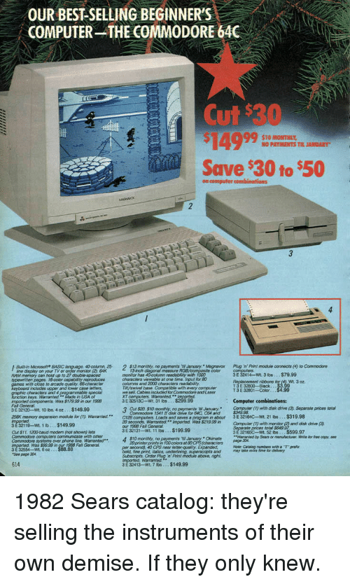 OUR BEST SELLING BEGINNER'S COMPUTER THE COMMODORE 640G Cut $30 TO