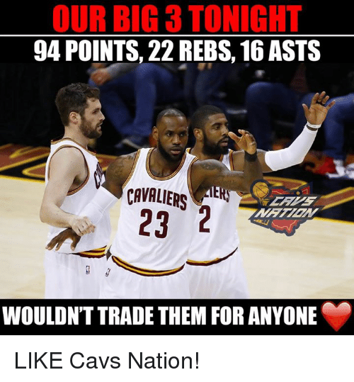 Cavs, Nba, and Cavaliers: OUR BIG 3 TONIGHT  94 POINTS, 22 REBS, 16 ASTS  CAVALIERS  AER  23 2  WOULDNT TRADE THEM FOR ANYONE LIKE Cavs Nation!
