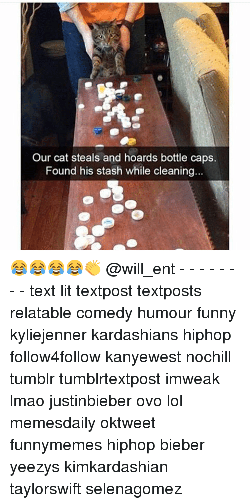 Funny, Kardashians, and Lit: Our cat steals and hoards bottle caps.  Found his stash while cleaning. 😂😂😂😂👏 @will_ent - - - - - - - - text lit textpost textposts relatable comedy humour funny kyliejenner kardashians hiphop follow4follow kanyewest nochill tumblr tumblrtextpost imweak lmao justinbieber ovo lol memesdaily oktweet funnymemes hiphop bieber yeezys kimkardashian taylorswift selenagomez