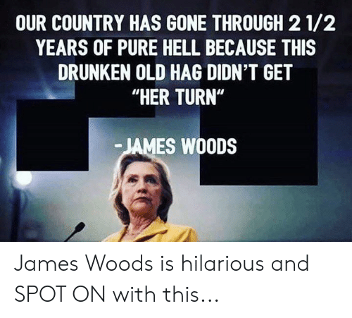 "Memes, Drunken, and Hilarious: OUR COUNTRY HAS GONE THROUGH 2 1/2  YEARS OF PURE HELL BECAUSE THIS  DRUNKEN OLD HAG DIDN'T GET  ""HER TURN""  JAMES WOODS James Woods is hilarious and SPOT ON with this..."