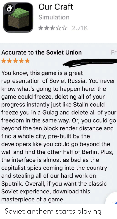 Our Craft Simulation 271K Accurate to the Soviet Union Fri You Know
