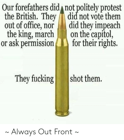 Fucking, Memes, and Protest: Our forefathers did not politely protest  the British. They did not vote them  out of office, nor did they impeach  the king, marchon the capitol,  or ask permissionfor their rights.  They fucking  shot them. ~ Always Out Front ~